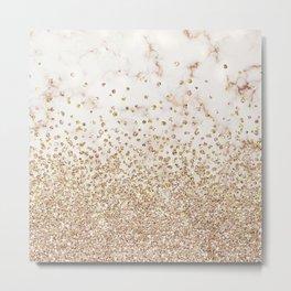 Marble Gold Glitter Confetti Metal Print