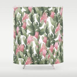 Watercolor pink gable green abstract cactus floral Shower Curtain