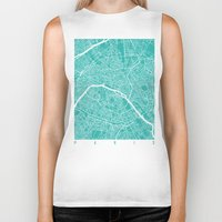 paris map Biker Tanks featuring Paris map turquoise by Maps_art