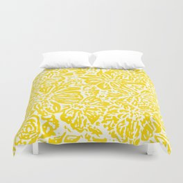Marigold Lino Cut, Mustard Yellow Duvet Cover