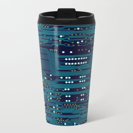 Dark Circuit Board Metal Travel Mug