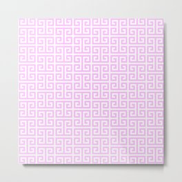 Pink and White Greek Key Pattern Metal Print
