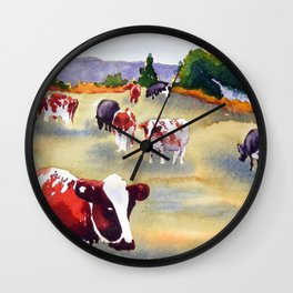 Cows in Pasture Wall Clock