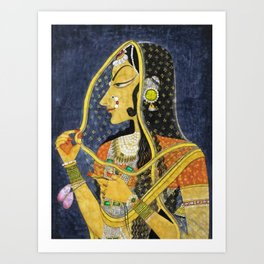 Bani Thani female portrait painting in traditional Rajasthani, the Mona Lisa of India by Nihal Chand Art Print