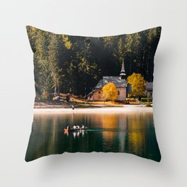 Lago di Braies, Lake Braies, Dolomite, South Tirol, Italy Throw Pillow