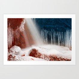 Winter Harmony Stream - Red White & Blue Art Print