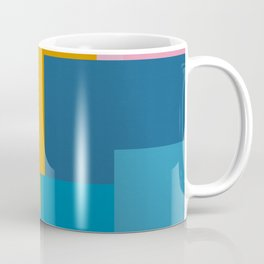 Happy Color Block Geometrics in Yellow, Blue, Purple, and Pink Coffee Mug