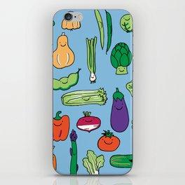 Cute Smiling Happy Veggies on blue background iPhone Skin