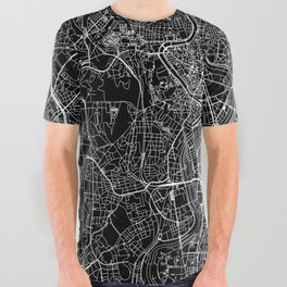 Rome Black Map All Over Graphic Tee