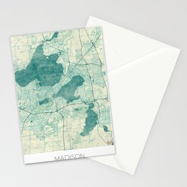 Madison Map Blue Vintage Stationery Cards