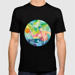 Water Polo Player Throw Ball Circle Low Polygon T-shirt