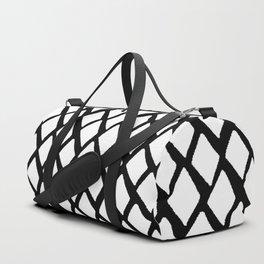 Rhombus White And Black Duffle Bag