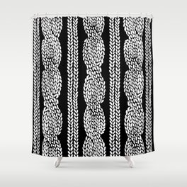 Cable Black Shower Curtain