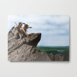 Watching The Herd - American Indians Metal Print