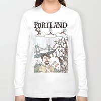 oregon Long Sleeve T-shirts featuring Portland, Oregon by Brooke Weeber