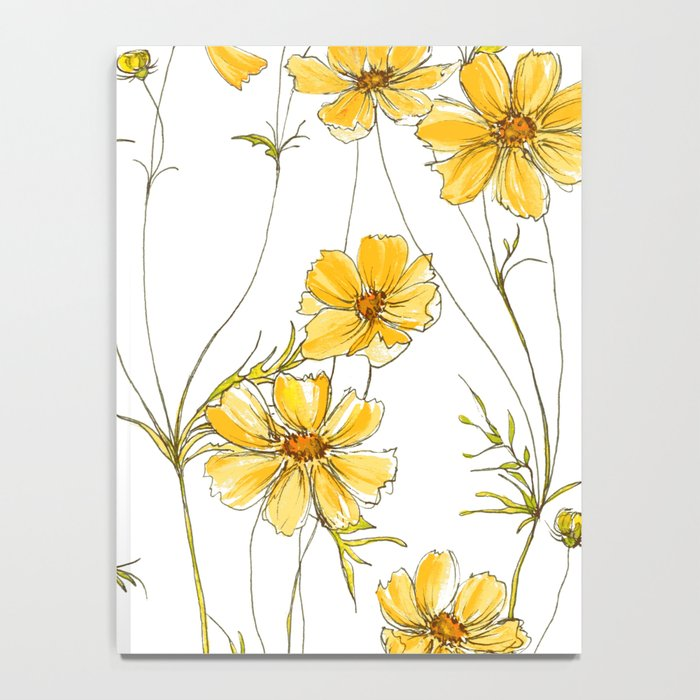 Yellow Cosmos Flowers Notebook