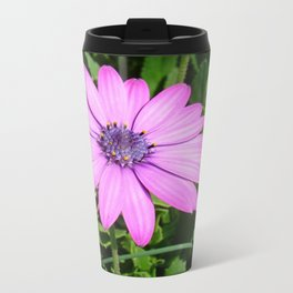 Single Pink African Daisy Against Green Foliage Travel Mug