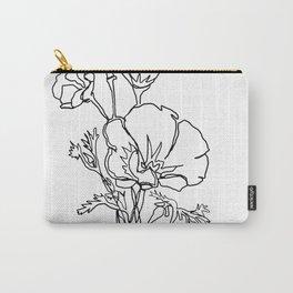 California poppy botanical minimalist line art Carry-All Pouch