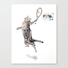 Cat Playing Tennis Canvas Print