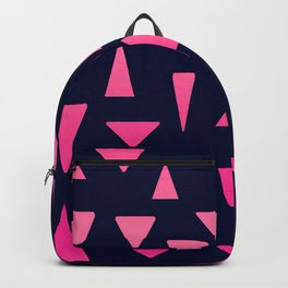 Geometric navy blue neon pink gradient triangles Backpack