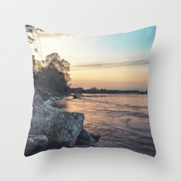Sunset on the banks of the Ticino river Throw Pillow