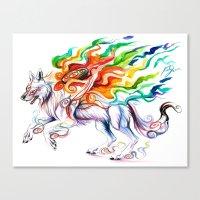 okami Canvas Prints featuring Okami Wolf by Katy Lipscomb