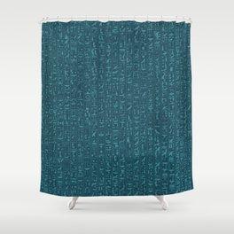 Hieroglyphics Moonstone BLUE / Ancient Egyptian hieroglyphics pattern Shower Curtain