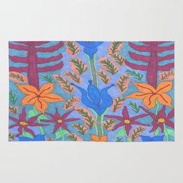 Lush Blue Bohemian Floral Garden Rug