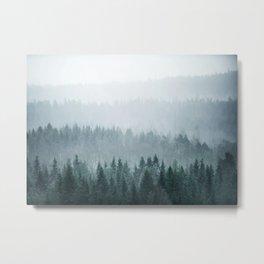 Teal Misty Forest Metal Print