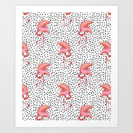Flamingos and Polka Dots by Katrina Ward Art Print