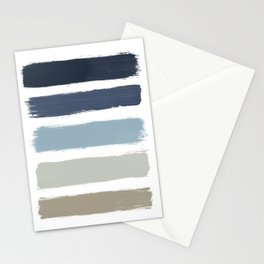 Blue & Taupe Stripes Stationery Cards