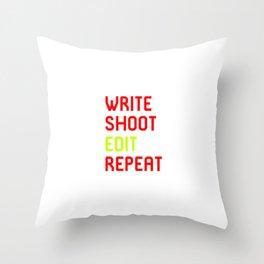 Write Shoot Edit Repeat Red Film School Throw Pillow