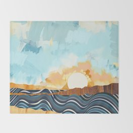 Summer Beach Sunset Throw Blanket