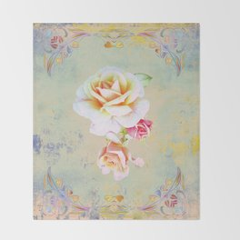 400 3 Vintage Roses Throw Blanket