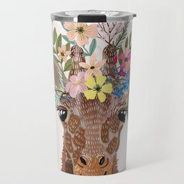 Giraffe with flowers on head Travel Mug