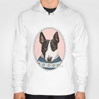 bull terrier Hoodies featuring Bull Terrier by Rhian Davie