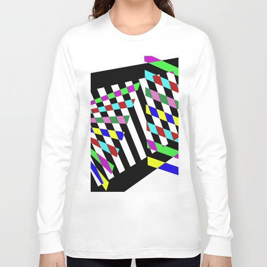 Lost Dimension - Abstract 3D style, multicoloured, geometric artwork Long Sleeve T-shirt