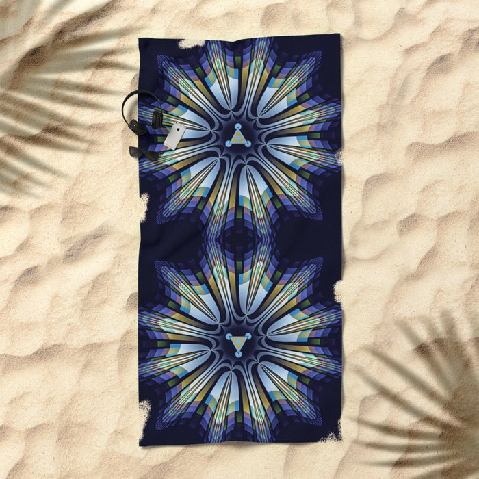 Retro design star in blue, gold, green and pink Beach Towel