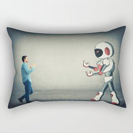 fight against robot Rectangular Pillow