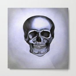Silver Skull Metal Print