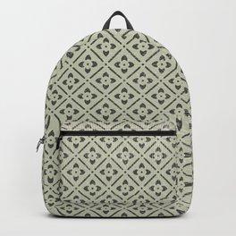 Vintage chic green black geometrical floral pattern Backpack