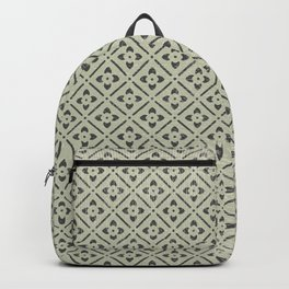 Vintage chic green black geometrical floral pattern Backpack