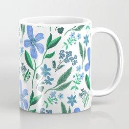 Blue Vintage Flower Pattern / Wild Flowers / Simple Clean Nature Coffee Mug