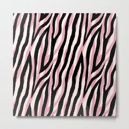 Fur mix texture - pastel zebra 01 Metal Print