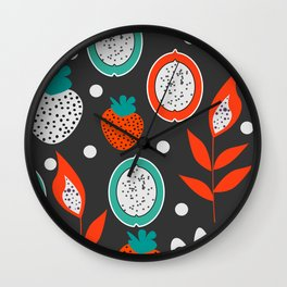 Strawberries and citrus fruits at night Wall Clock