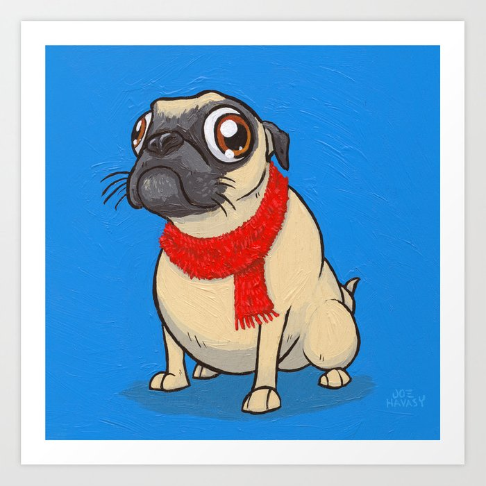 Pug with a scarf Art Print