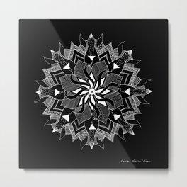 Mandala Deer Black Metal Print