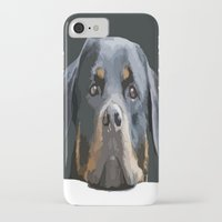 rottweiler iPhone & iPod Cases featuring Rottweiler Portrait Vector by taiche