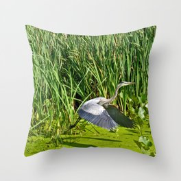 Great Blue Heron Takes Flight Throw Pillow