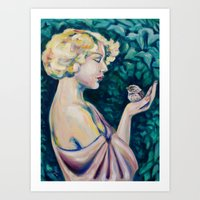 sparrow Art Prints featuring Sparrow by Kristina Gufo